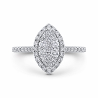 Luminous Marquise Halo Cluster Engagment Ring