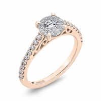 Luminous Rose Gold Diamond Cluster Engagement Ring