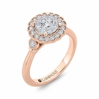 Luminous Scalloped Halo Cluster Engagment Ring