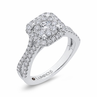 Luminous Split Shank Cluster Engagment Ring