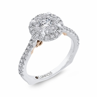 Lumionous Two-Tone Diamond Cluster Engagement Ring
