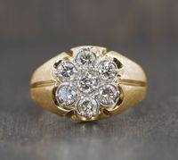 Mens Gypsy Style Diamond Cluster Ring, 2 ctw