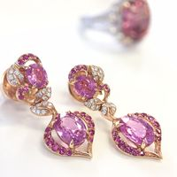 18kt Rose Gold, Diamond and Pink Sapphire Earrings by Parade