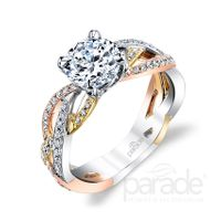 18kt White, Rose,and Yellow Gold and Diamond Engagement Ring by Parade