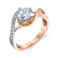 18kt Rose and White Gold Diamond Swirl Engagement Ring by Parade