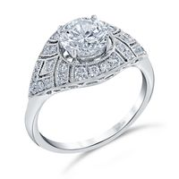 18kt White Gold and Diamond Engagement Ring by Parade, Vintage Style