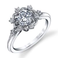 18kt White Gold and Diamond Vintage Engagement Ring by Parade