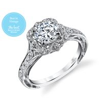 18kt White gold and Diamond Vintage Inspired Engagement Ring by Parade
