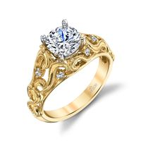 18kt Yellow Gold and Diamond Scroll Engagement Ring by Parade