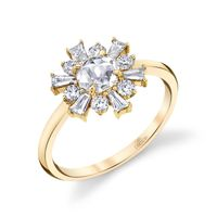 18k Yellow Gold & Rose Cut Diamond Flower Engagement Ring by Parade Designs