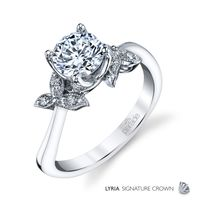 18kt White Gold and Diamond Engagement Ring by Parade, Leaf Design