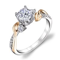 18kt White Gold & 18k Yellow Gold Diamond Lyria Leaves Engagement Ring by Parade