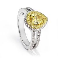 Pear Shape Fancy Yellow Diamond Ring - 1.30ctw