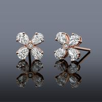 14k Rose Gold and Pear Shaped Diamond Studs