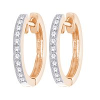 14k & Diamond Petite Diamond Gold Hoop Earrings