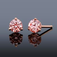 PGD Pink Diamond Stud Earrings set in 14K Rose Gold - .61ctw