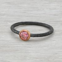 Hammered Sterling Silver and 14K Rose Gold Pink Diamond Ring