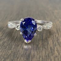 Vinca - Ladies Platinum Diamond Vintage Style Tanzanite Ring