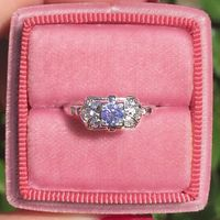 Minette - Platinum, Diamond Vintage Engagement Ring
