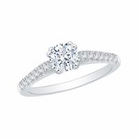 Promezza 14K White Gold Diamond Semi-Mount Engagment Ring