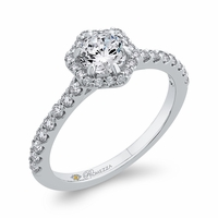 Promezza Hexagon Halo Diamond Engagement Ring