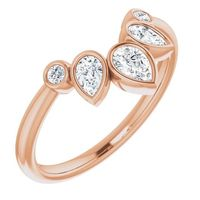 14k Rose Gold Curved Pear Diamond Band