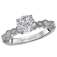 18k White Gold and Diamond with Milgrain Detail Engagement Ring by Romance