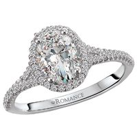 18k White gold and Diamond Split Shank Engagement Ring by Romance