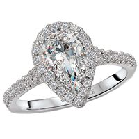 18k White Gold and Diamond Pear Shaped Halo Engagement Ring by Romance