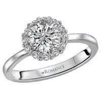 18k White Gold and Diamond Halo Engagement Ring by Romance