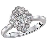 14k White Gold and Scalloped Diamond Halo Engagement Ring by Romance