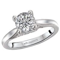 18k White Gold Trelllis Style Diamond Semi Mount Engagement Ring by Romance