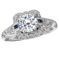 18kt White Gold, Diamond and Blue Sapphire Vintage Style Engagement Ring by Romance