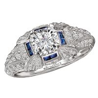 18k White Gold,  Diamond and Sapphire Engagement Ring by Romance