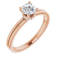 14k Rose Gold Ring with .5oct GIA Grade Diamond by Stuller