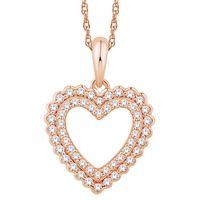 10k Rose Gold and Diamond Heart Necklace