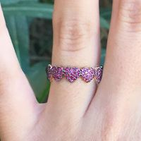 14K Rose Gold and Ruby Heart Band by Meira T