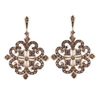 14k Rose Gold & Cognac Diamond Vintage Inspired Earrings