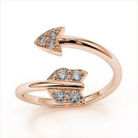 14K Rose Gold and Diamond Arrow Ring