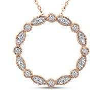 10kt Rose Gold and Diamond Circle Pendant Necklace
