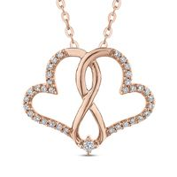 10kt Rose Gold and Diamond Interlocked Hearts Necklace