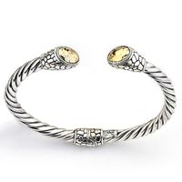 Samuel B. Twisted Bangle with Hammered Gold Caps