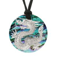 Paua Shell and Sterling Silver Dragon Pendant by Samuel B