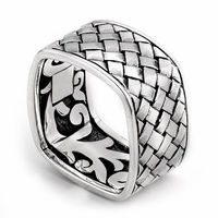 Samuel B Sterling Silver Square Basketweave Pattern Men's Ring