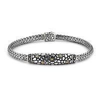 "Sterling Silver & 18k Yellow Gold Pebble Pattern 7.5"" Tulang Naga Bracelet by Samuel B"