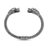 Sterling Silver & 18k Yellow Gold Men's Dragon Bangle by Samuel B