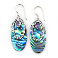 Sterling Silver, Paua Shell & Amethyst Earrings by Samuel B
