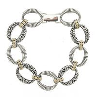 Sterling Silver & 18k Yellow Gold Detail Scroll Design Bracelet by Samuel B