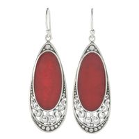 Samuel B Sterling Silver Oval Coral Drop Earrings