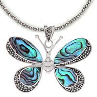 Sterling Silver & Paua Shell Butterfly Necklace by Samuel B